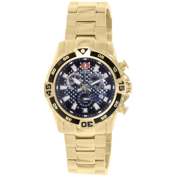 Swiss Precimax Men's Falcon Pro Water-resistant Stainless Steel Black-dial Chronograph Watch