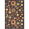 Black Contemporary Dazzle Design Non-skid Area Rug (3'3 x 5')