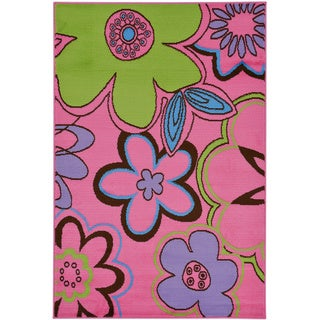 Pink Contemporary Floral Design Area Rug (5' x 7')