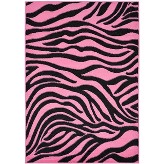 Pink Animal Print Zebra Design Area Rug (5' x 7')