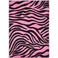 Pink Animal Print Zebra Design Area Rug (5' x 7')