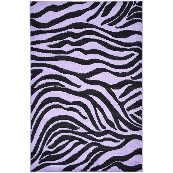 Purple Animal Print Zebra Design Area Rug (5 x 7)