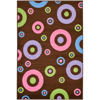 Brown Contemporary Circles Design Area Rug (5' x 7')