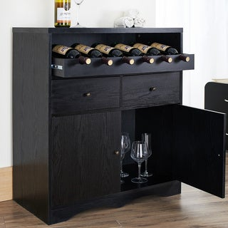 Transitional Black Multi Shelf Bar Buffet Unit