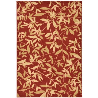 Dark Red Contemporary Leaves Design Area Rug (3'3 x 5')