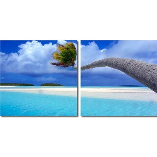 Baxton Studio Windswept Palm Mounted Photography Print Diptych
