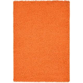 Machine-woven Orange Shag Rug (3'3 x 4'7)