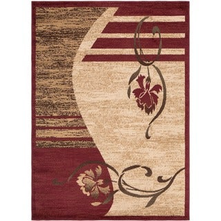 Contemporary Floral Beige Area Rug (7'10 x 9'10)
