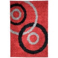 Soft Shag Dark Red Contemporary Dazzle Area Rug (3'3 x 4'7)