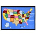 Children's American Map Design Blue Area Rug (5' x 6'6)