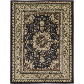 Oriental Medallion Black Area Rug (7'10 x 9'10)