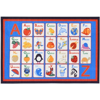 Children's Alphabet Design Blue Area Rug (3'3 x 5')