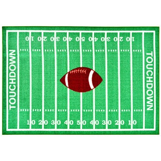 Children's Sports Design Green Area Rug (3'3 x 5')