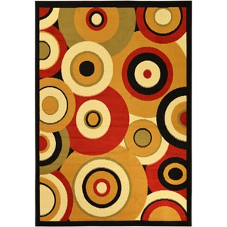 Multi Color Contemporary Circles Area Rug (5' x 7')