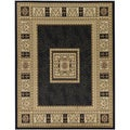 European Design Black Area Rug (5'3 x 7')