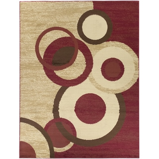 Contemporary Circles Dark Red Area Rug (5'3 x 7')
