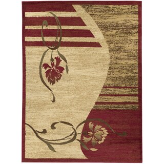 Contemporary Floral Dark Red/ Beige Area Rug (3'11 x 5'3)