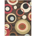 Contemporary Circles Black Area Rug (7'10 x 9'10)