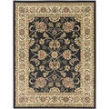 Oriental Design Black Area Rug (3'11 x 5'3)