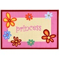 Children's Princess Script Design Pink Area Rug (5' x 6'6)