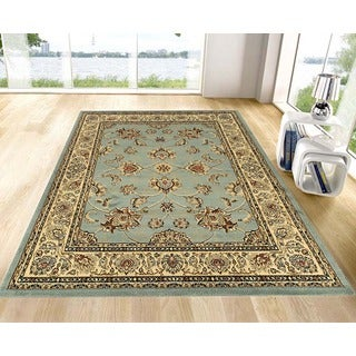 Ottomanson Ottomanson Royal Collection Traditional Persian Oriental Design Blue Area Rug (5'3 x 7')