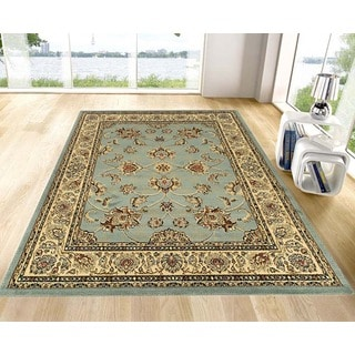 Blue Traditional Oriental Design Area Rug (5'3 x 7')