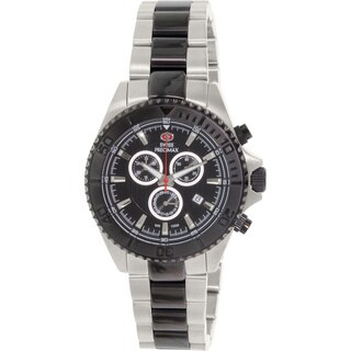 Swiss Precimax Men's Maritime Pro Two-tone Stainless Steel Black Dial Water-resistant Chronograph Watch