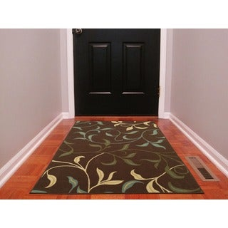Chocolate Leaves Design Non-skid Area Rug (3'3 x 5')