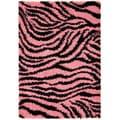 Pink and Black Animal Print Zebra Design Area Rug (3'3 x 4'7)