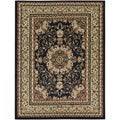Oriental Medallion Black Area Rug (5'3 x 7')