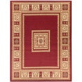 Traditional European Design Dark Red Area Rug (3'11 x 5'3)