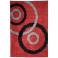 Soft Shag Dark Red Contemporary Dazzle Design Area Rug (5'X7')