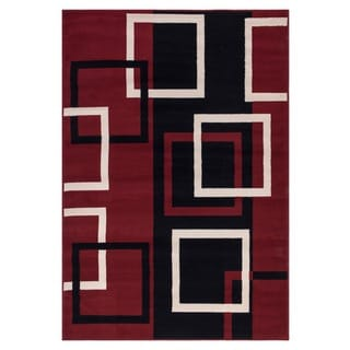 Dark Red Contemporary Boxes Design Area Rug (5'X7')