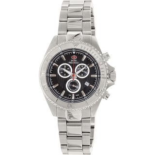 Swiss Precimax Men's Maritime Pro Stainless Steel Black Dial Chronograph Watch