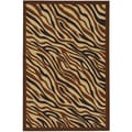 Animal Print Zebra Chocolate Brown Non-skid Area Rug (3'3 x 5')