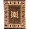 European Border Brown Area Rug (5'3 x 7')