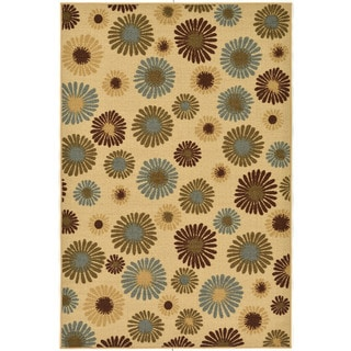 Beige Sunflowers Non-skid Area Rug (3'3 x 5')