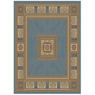 Blue Traditional European Design Area Rug (7'10 x 9'10)