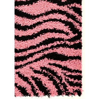 Pink/ Black Animal Print Zebra Area Rug (5' x 7')