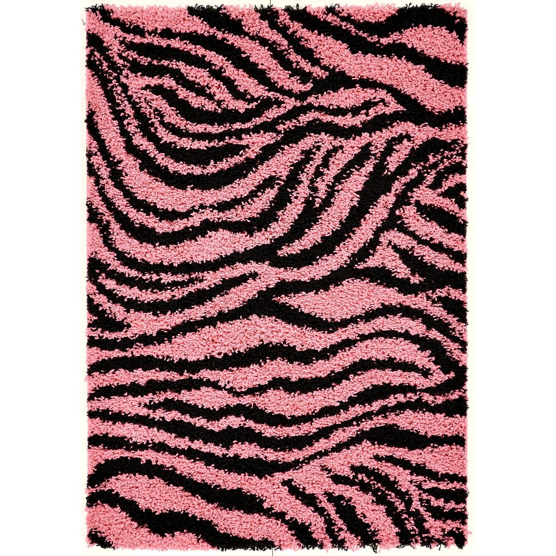 Pink/ Black Animal Print Zebra Area Rug (5' X 7
