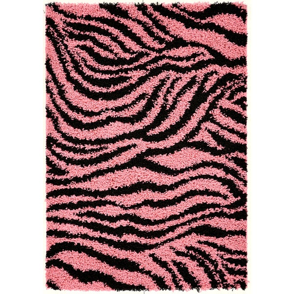 ottomanson pink black animal print zebra area rug 5 39 x 7 39 15817806 shopping. Black Bedroom Furniture Sets. Home Design Ideas