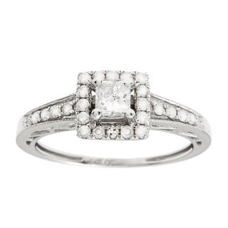 14K White Gold 3/4ct TDW Princess Cut Diamond Engagement Ring (G-H, I1)