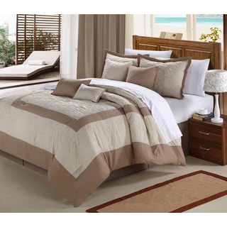 Seashell Brown and White 12-piece Comforter Set
