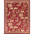 Dark Red Floral Design Area Rug (5'3 x 7')