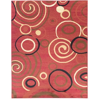 Contemporary Scrolls Dark Red Area Rug (3'11 x 5'3)