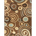Brown Scrolls Area Rug (3'11 x 5'3)