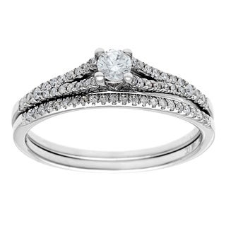 14k White Gold 1/2ct TDW Round Diamond Bridal Set (G-H, I1)