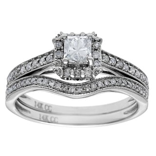 14k White Gold 1ct TDW Princess Cut Diamond Bridal Set (G-H, I1)