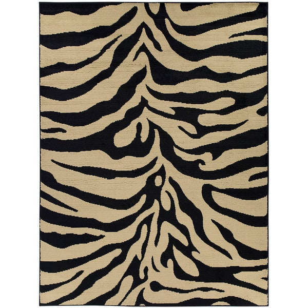 Contemporary Zebra Animal Print Area Rug (5'3 X 7