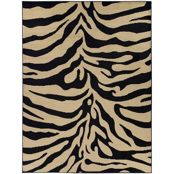Animal Print Bath Rug: Contemporary Zebra Animal Print Area Rug (5'3 X 7